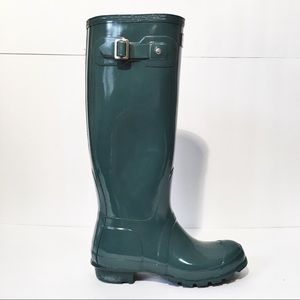 Hunter green tall Rain boots
